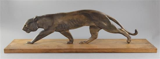 A French Art Deco bronze model of a prowling panther, width 27.5in.