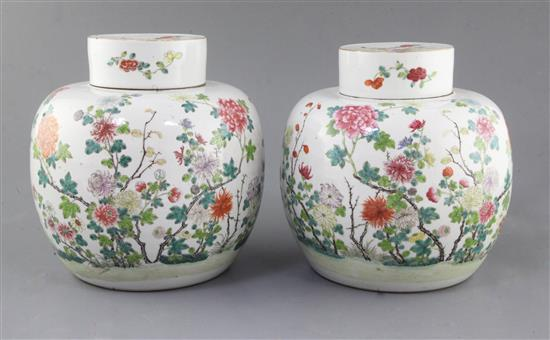 A pair of Chinese famille rose globular jars and covers, late 19th century, height 21.5cm, slight firing faults