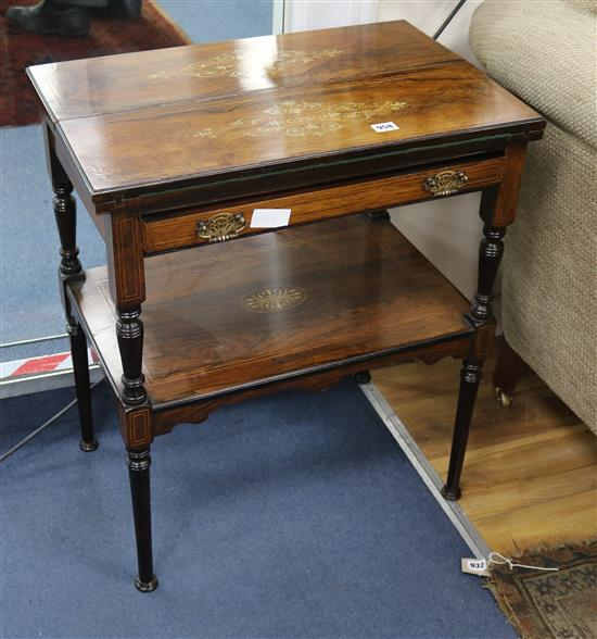 An Edwardian inlaid rosewood card table W.61cm