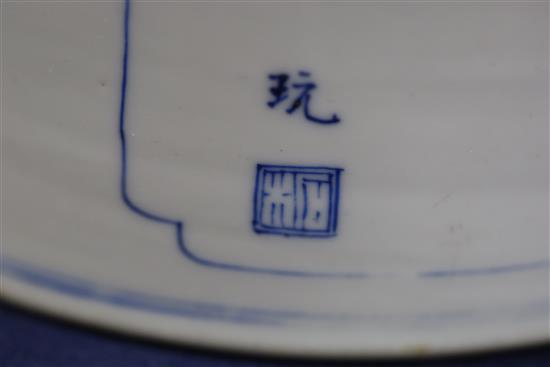 A good large Chinese blue and white brush pot, bitong, Kangxi period, c.1700-15, 18cm high, 20.2cm diameter, small chip to foot