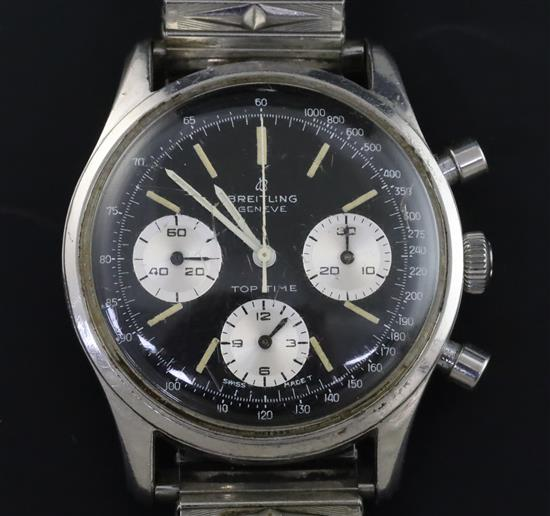 A gentlemans 1960s stainless steel Breitling Top Time chronograph manual wind wrist watch,