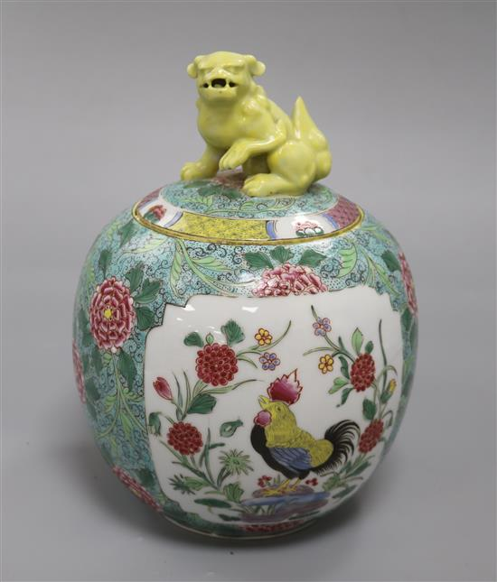 A late 19th century Samson famille rose rooster jar with kylin finial height 25cm