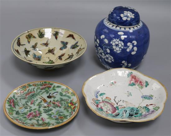 A Chinese straight butterfly bowl, a Straits footed bowl with rabbit, a prunus ginger jar and a Canton dish