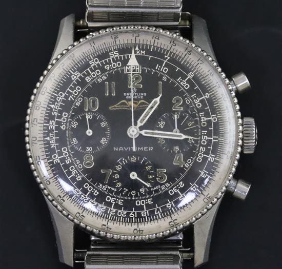 A gentlemans mid 1960s stainless steel Breitling Navitimer chronograph wristwatch, model no. 806,