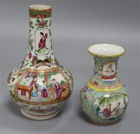 A 19th century famille rose vase and a famille rose bottle vase tallest 21cm
