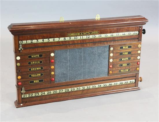 A Burroughes & Watts mahogany snooker and billiards scoreboard, width 39in. height 22in.
