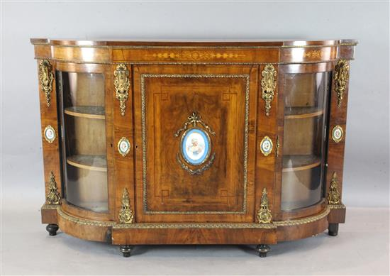 A Victorian ormolu mounted marquetry inlaid walnut credenza, W.5ft 7.5in. D.1ft 4in. H.3ft 8in.