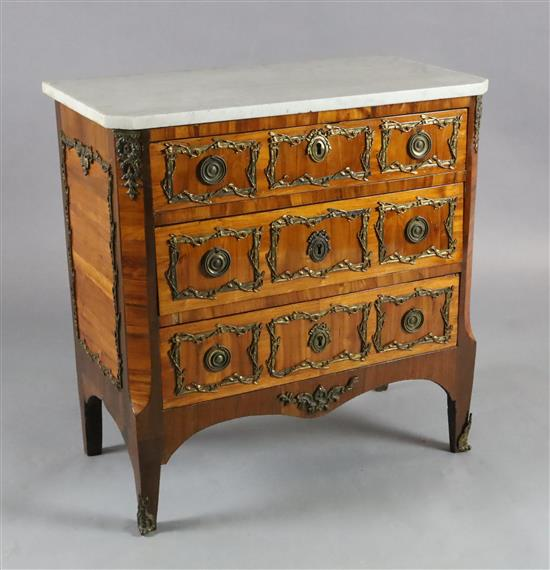 A 19th century French Louis XVI style ormolu mounted kingwood commode, W.2ft 6in. D.1ft 5in. H.2ft 7in.