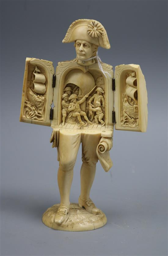 An ivory triptych figure of Nelson