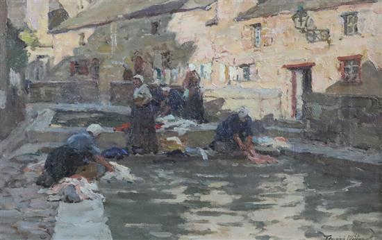Terrick Williams (1860-1936) A Washing Place, Brittany 10.5 x 16in.