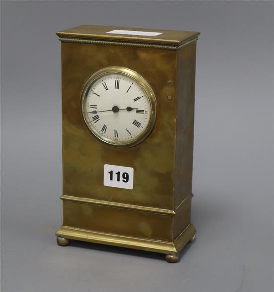 An Edwardian brass mantel timepiece height 22cm