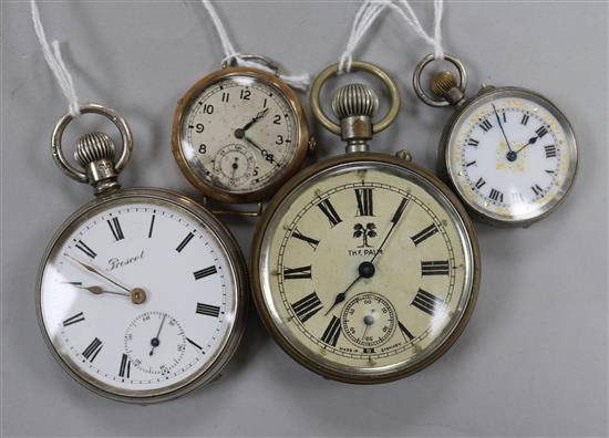A 9ct gold-cased trench watch, two silver pocket watches and a plated pocket watch.