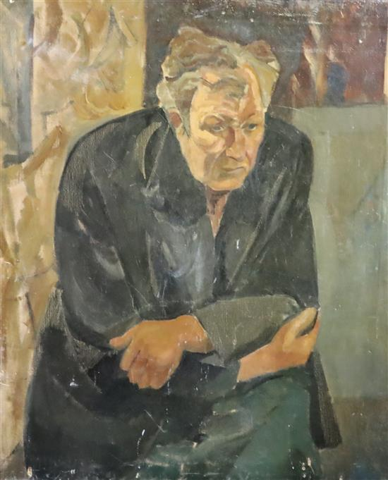 Modern British Portrait of Lucien Freud 36 x 30in., unframed