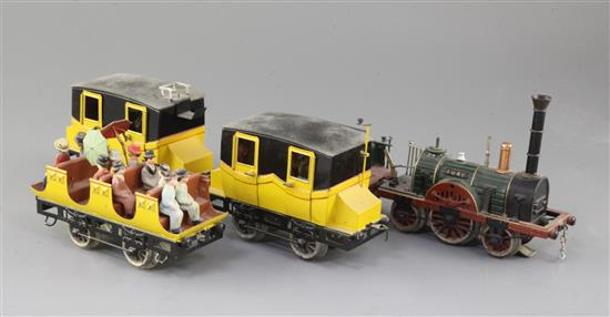A Marklin electric locomotive and tender, The Fury, loco 5.5in. tender 3.75in. carriages 5.5in.