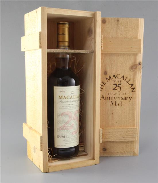 A bottle of The Macallan 25 year old anniversary malt,