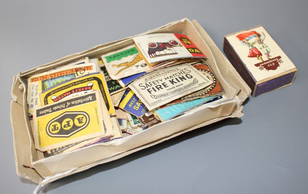 A collection of assorted matchbox labels