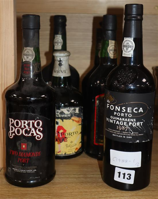 One bottle of Fonseca 1987 Vintage Port and five other ports