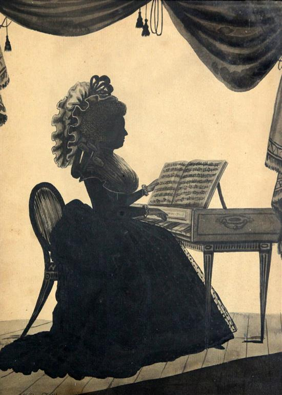 William Wellings Silhouette of a lady at a square piano, 11 x 8.25in.