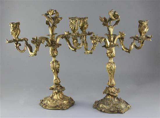 A pair of 19th century French Louis XVI style ormolu candelabra, height 16.5in.