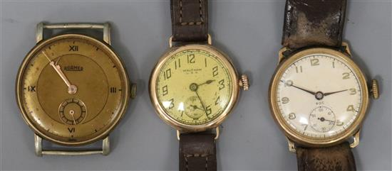 Two 9ct gold wrist watches including Waltham and a steel and gold plated Roamer wrist watch.