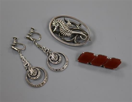 An Ivan Tarratt designed by Geoffrey G. Bellamy silver oval Seahorse brooch, a pair of marcasite drop earrings and one other brooch