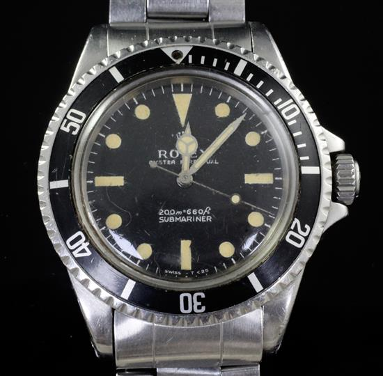 A gentlemans 1967 Rolex stainless steel Submariner wristwatch, ref no. 5513; serial no. 1607300, bracelet no. 7839, with Rolex box.