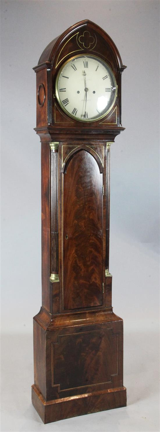An early 19th century brass inlaid mahogany longcase clock, Magine, Pimlico, 6ft 6.5in.