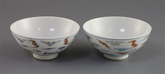 A pair of Chinese doucai bat bowls, Yongzheng mark, Republic period, D. 9.7cm, one bowl restored