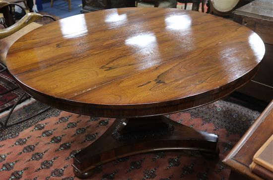 A Rosewood breakfast table W.133cm