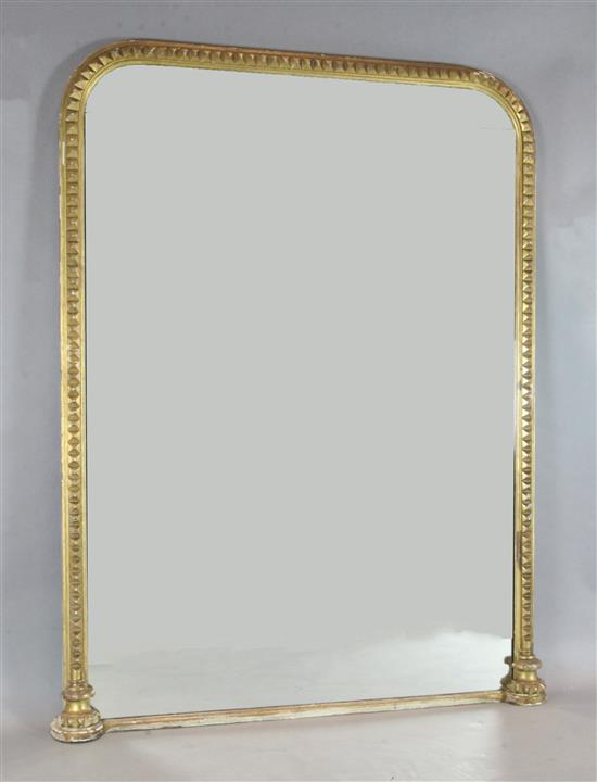 An early Victorian giltwood console pier table, and a pier glass ensuite with arched plate, W.4ft 11