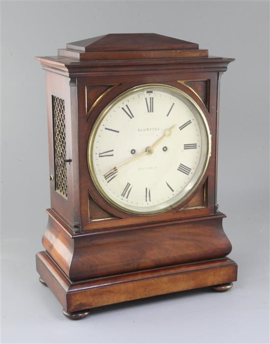 Blundell of London. An early Victorian mahogany hour repeating eight day bracket clock, height 18in.