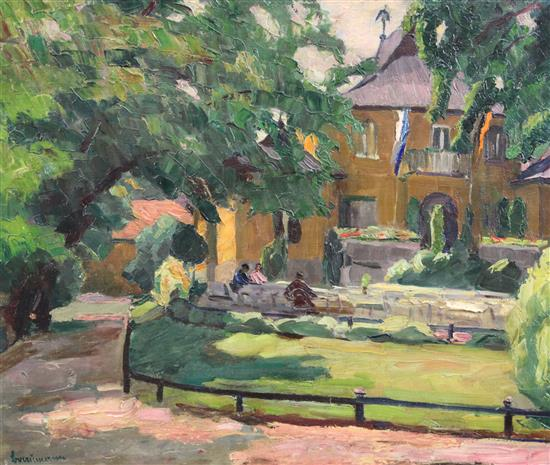 German School Garden Restaurant, Munich, 18 x 21.5in., unframed