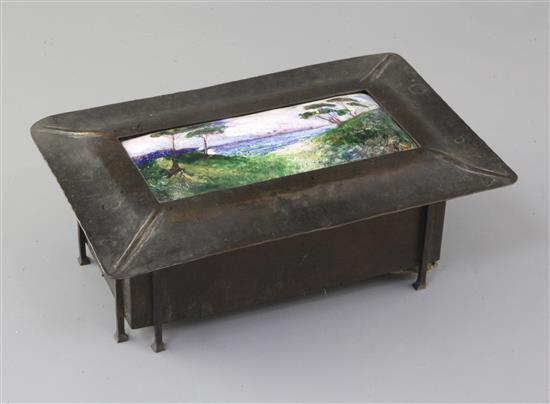 Charles Fleetwood Varley for Guild of Handicraft. An Arts & Crafts copper and enamel box, w. 26cm, hinge detached