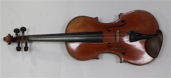 A fine French violin by Jacques-Pierre Thibout, Paris 1838, length of back 14in., crocodile skin case