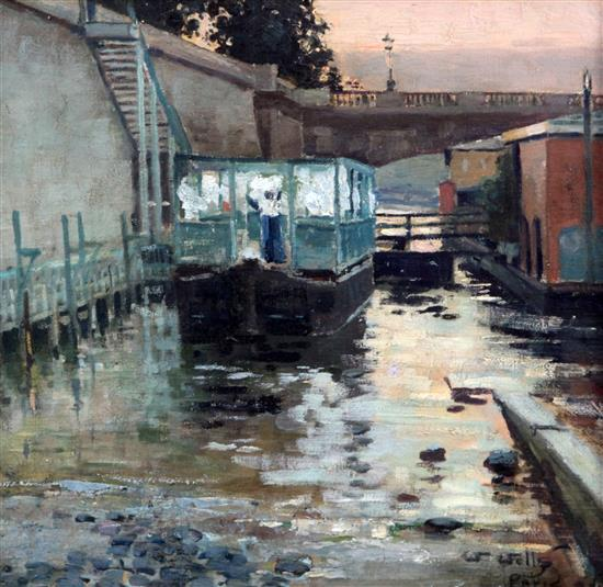 William Page Atkinson Wells (1872-1923) Houseboats on the Seine 12.5 x 13in.