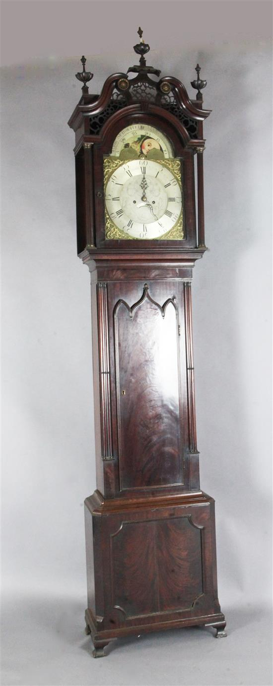 Major Scholfield of Manchester. An early 19th century flame mahogany cased eight day longcase clock, 8ft 6in.
