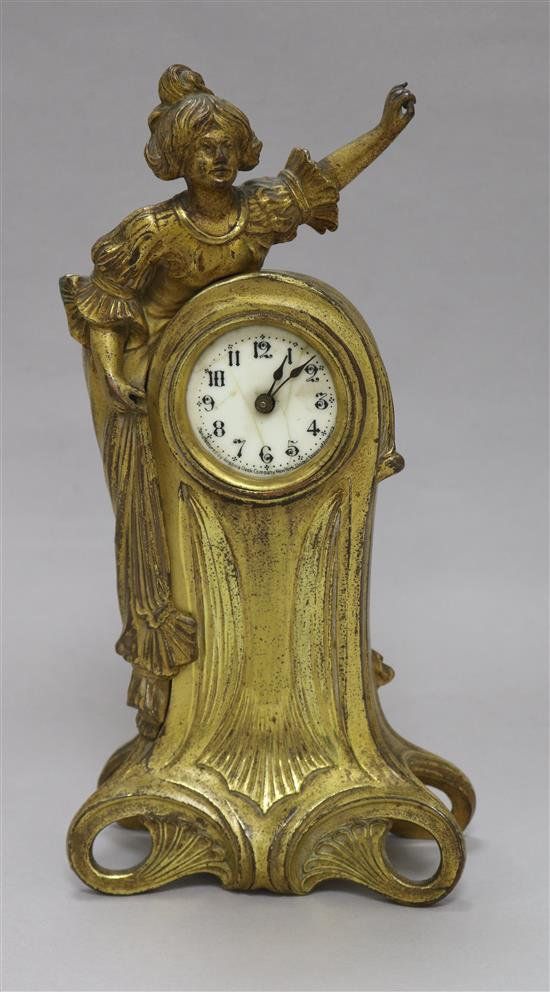 An Art Nouveau gilt clock height 26cm