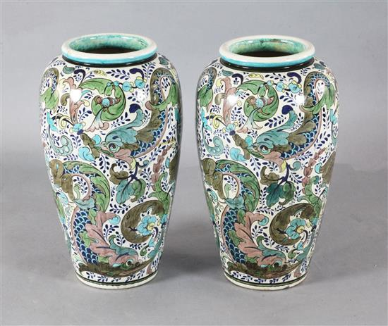 A large pair of Burmantofts Persian faience ovoid floor vases, by Leonard King, c.1885, height 55.5cm