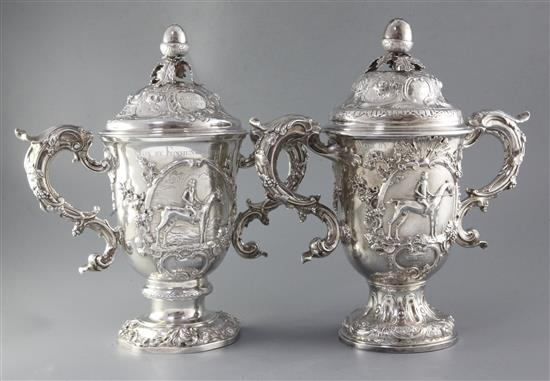 Two handsome George II silver horse racing related presentation trophy cups