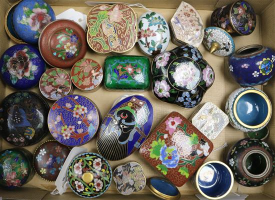 A collection of small decorative cloisonne boxes and covers,