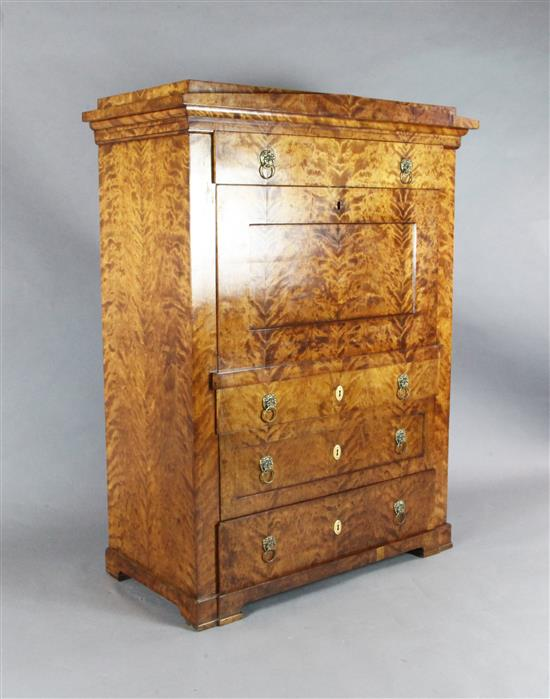 A Biedermeier satin birch secretaire à abattant, W.3ft 9in. D.1ft 11in. H.5ft