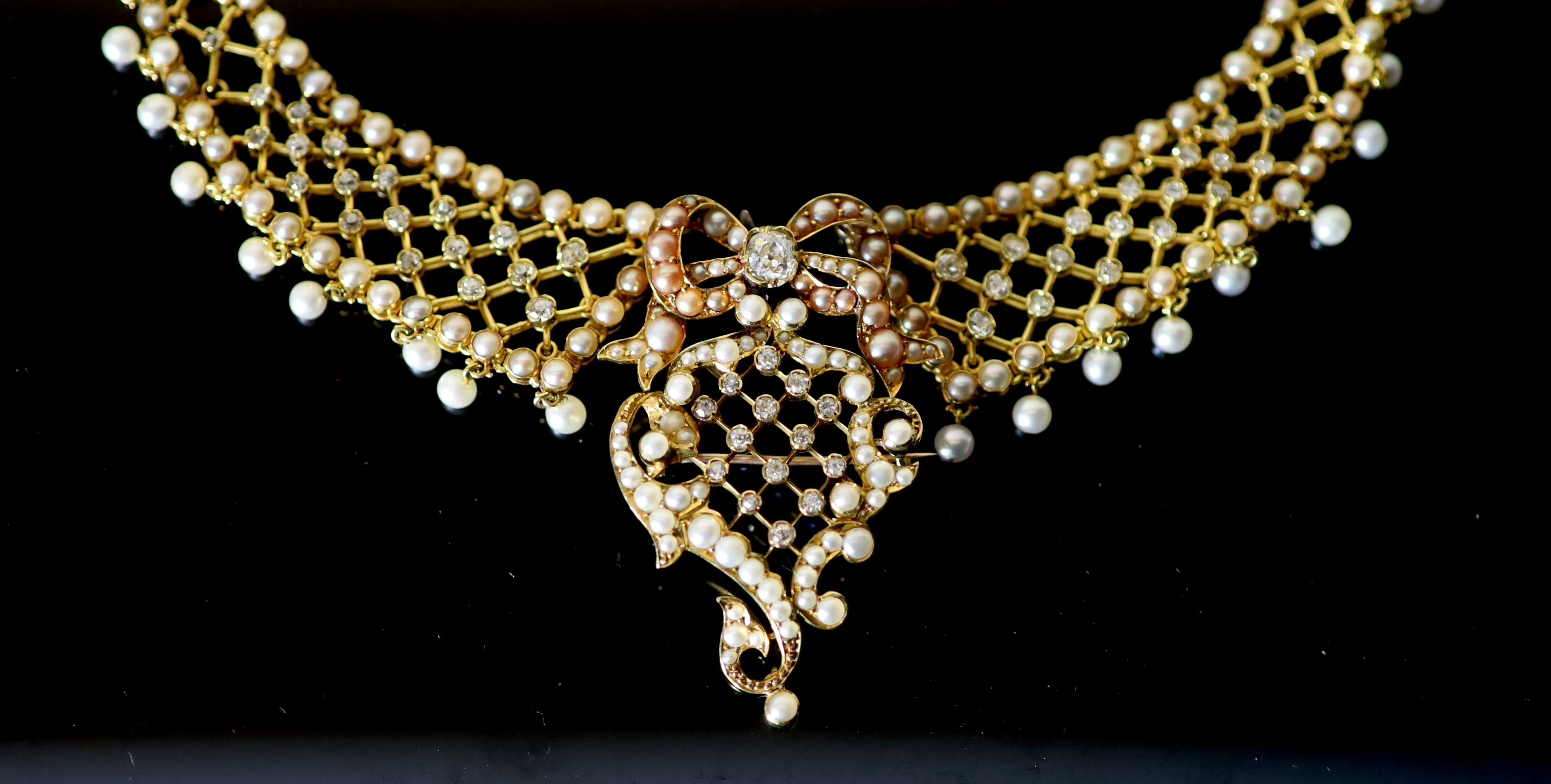 A good Victorian 15ct gold, pearl and diamond set drop pendant/brooch necklace,