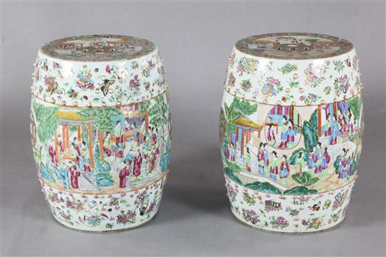 A pair of Chinese famille rose barrel shaped garden seats, c.1830-50, height 47.5cm, one barrel cracked