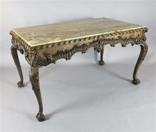 An impressive George II walnut and marble topped centre table, c.1740-50, W.5ft 4in. D.3ft 1.5in. H.2ft 10in.