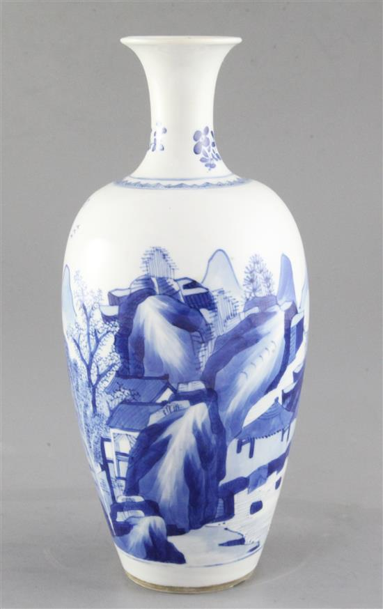 A Chinese blue and white ovoid vase, Kangxi period, height 27.5cm, neck restored