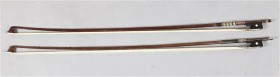 Two violin bows, one silver and the other gold mounted, unstamped,
