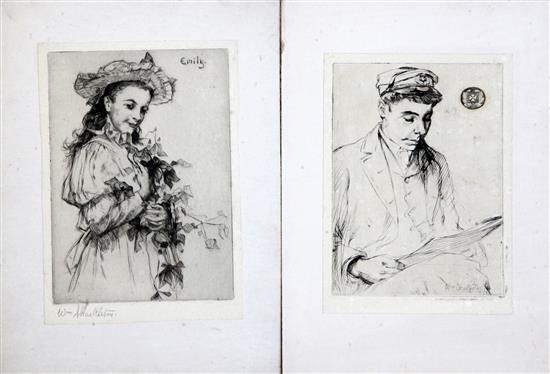 William Shackleton (1872-1933) Portraits and children in gardens, including Emily 1904, Largest 16 x 10in. unframed.