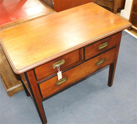 A 19th century mahogany campaign table W.94cm