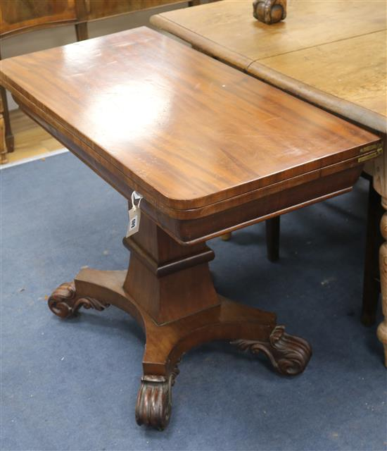 A William IV mahogany tea / card table W.102cm