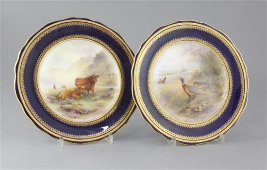 A pair of Royal Worcester cabinet plates, decorated by James Stinton, diameter 9.25in.